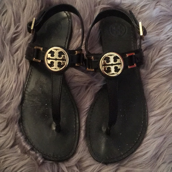 26e4982ce6fb Tory Burch cassia black sandals with gold logo 9. M 5a7350eb3b1608d57ce6b970